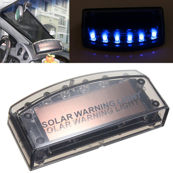 Auto Solar Charger LED Car Burglar Alarm Warning Blue Light Sensor Security