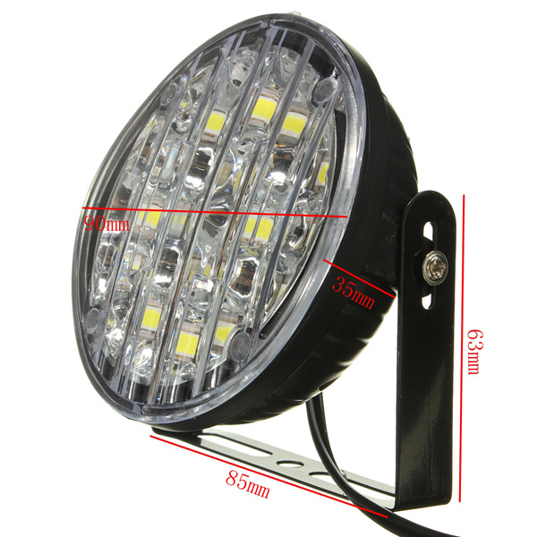12V 18LED White Round Car Driving Daytime Running Light Fog Light