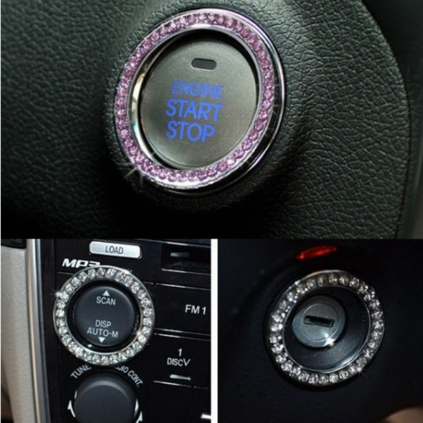 Car Engine Start Stop Taste Push Button Crystal Ring Sticker