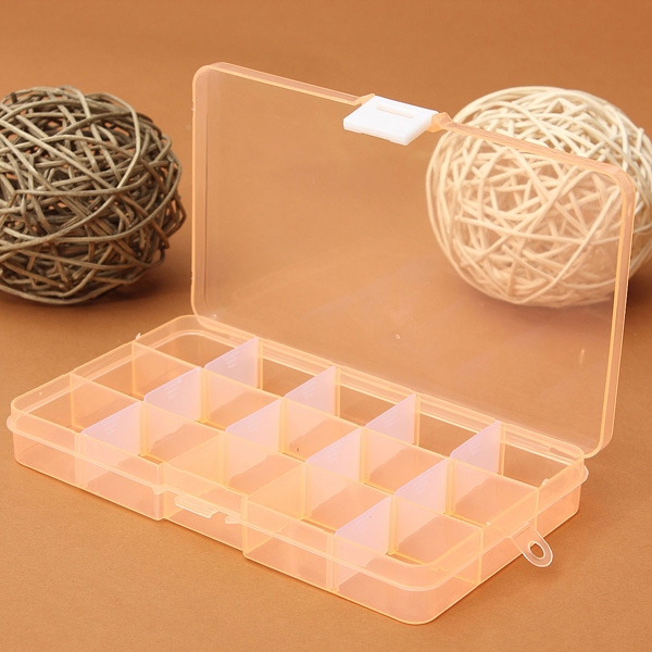 Multicolor 15 Slots Plastic Compartment Jewelry Pill Beads Storage Box