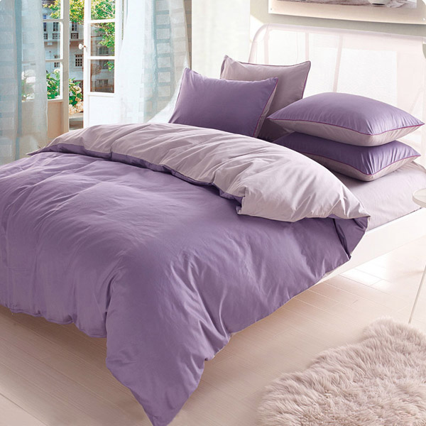 3/4pcs Pure Cotton Light Purple Grey Assorted Bedding Sets Plain Duvet Cover