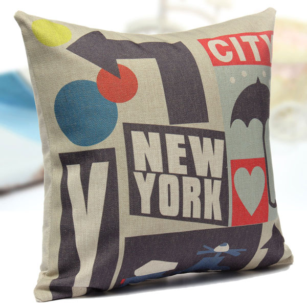 Cotton Linen New York City Pillow Case Sofa Bed Car Seat Pillowcase