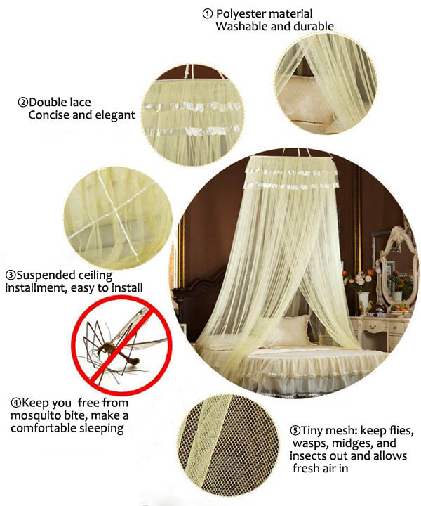 Elegant Lace Hanging Bedding Mosquito Net Dome Princess Bed Canopy Netting