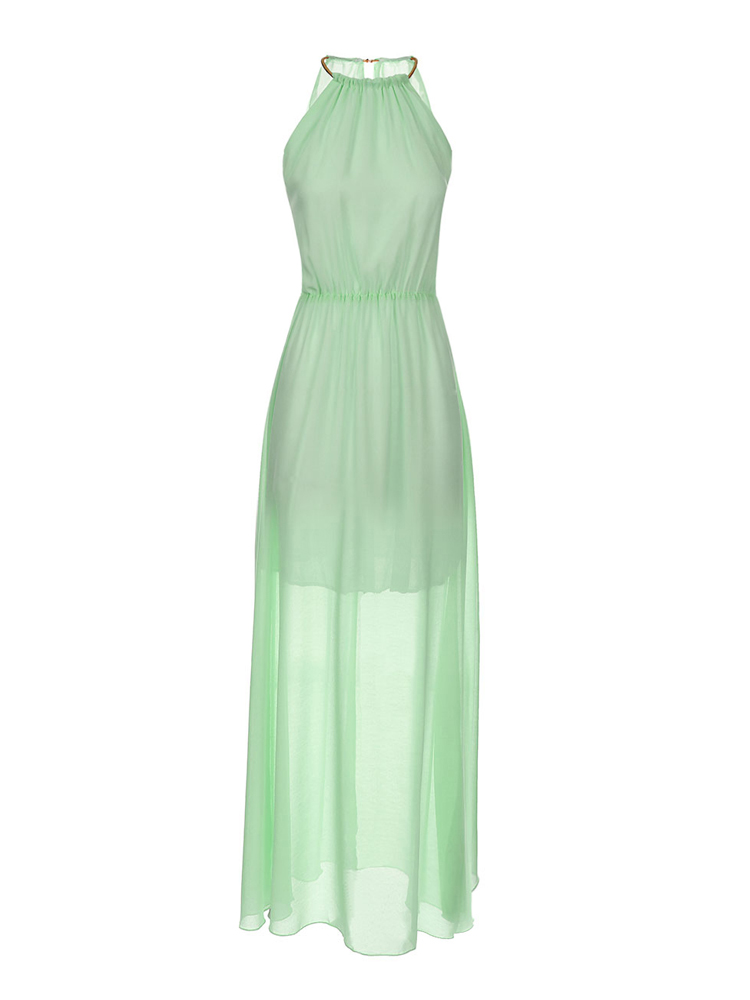 Summer Women Slim Halter Pleated Backless Sleeveless Chiffon Maxi Dress
