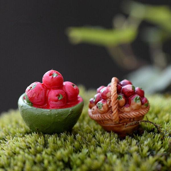 Mini Fruits Basket Moss Micro Landscape Garden DIY Decoration