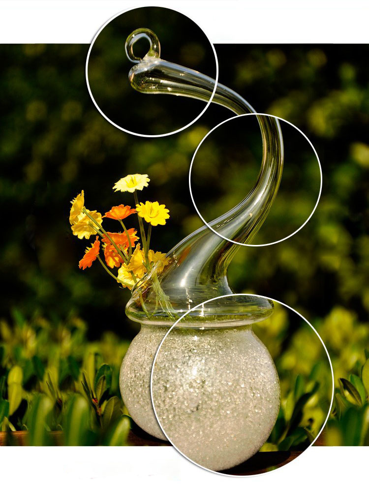 Creative Snowman DIY Expression Flower Plants Glass Hanging Frosted Vase