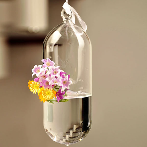 Hydroponic Plants Flower Pill Shape Hanging Glass Vase Home Decor