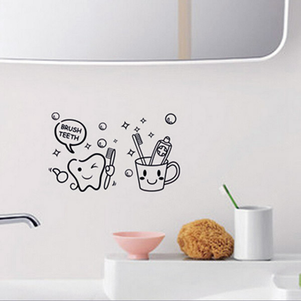 Removable Toothbrush Printed Waterproof Sticker Bathroom Wall Decal