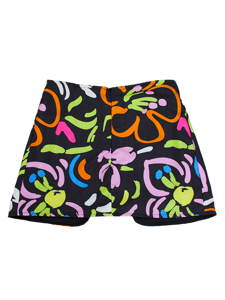 Fashion Women Floral Printed High Waist Double Button Shorts Pants