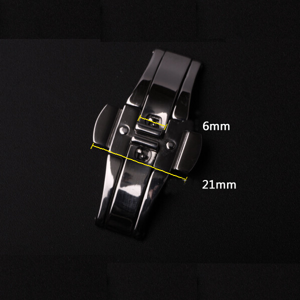 Black Color Stainless Steel Fold Watch Band Butterfly Buckle Clasp