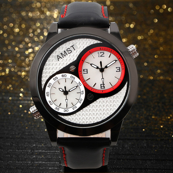 AMST 3012 Two Dials Leather Band Waterproof Men Sport Watch