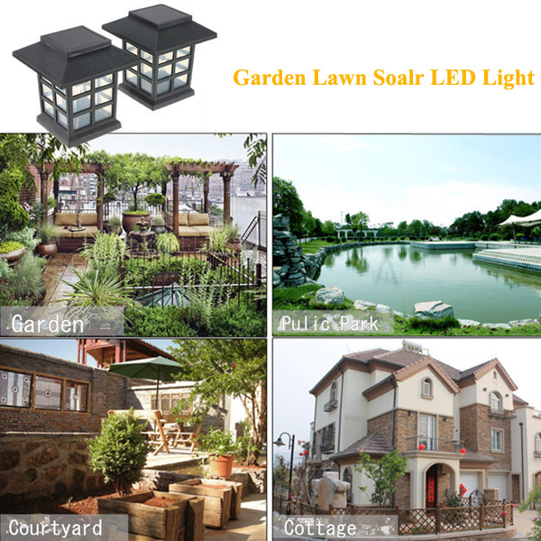 2pcs Garden Solar Oriental LED Lamp Outdoor Yard Lawn Decorative Light