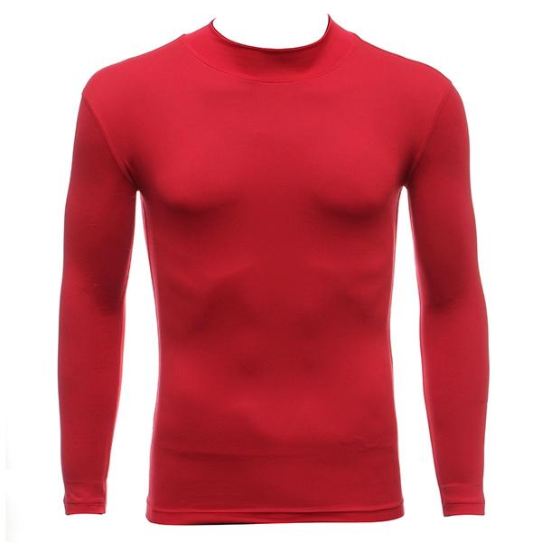Mens Riding Sports High Collar Under Base Layer Long Sleeve T-Shirt