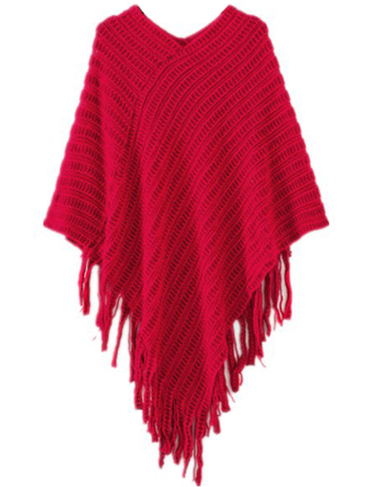 Women V-neck Batwing Stripes Fringed Irregular Knitted Sweater