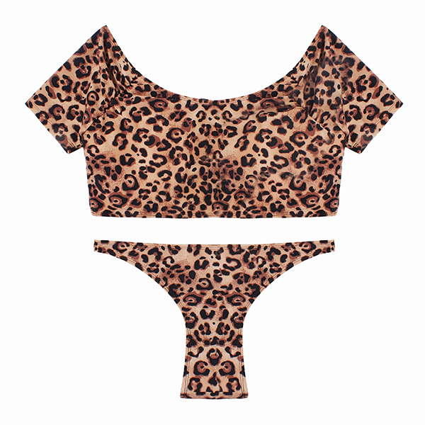 SWIMMART Sexy Short Sleeve Leopard Printed Elastic Tankinis Swimwear Sets