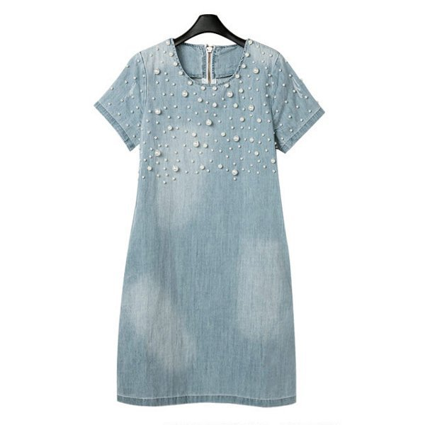 Women Summer Nail Bead Denim Loose Dress