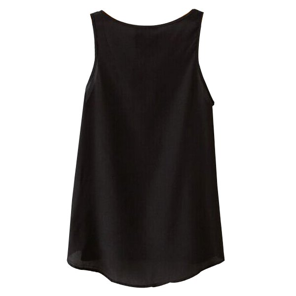 Chiffon Pocket Tank For Women Black And White Sleeveless Shirts