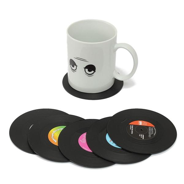 6pcs Vinyl Record Coaster Coffee Mug Holder Cup Mat Ret