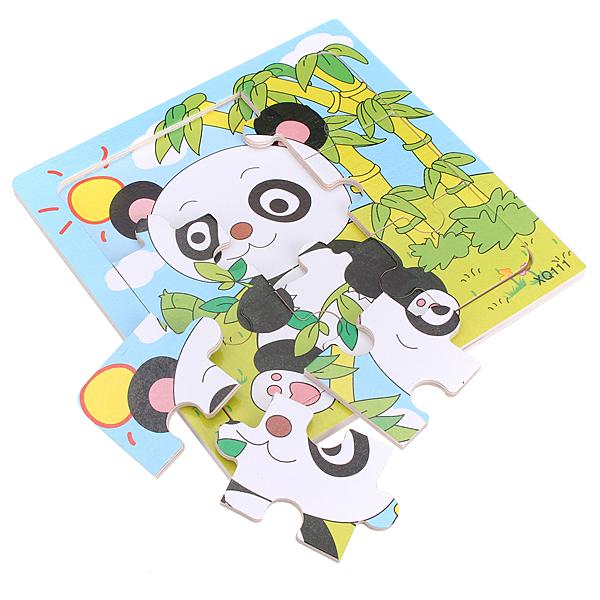 9Pcs Wooden Panda Puzzle Educational Baby Kids Training