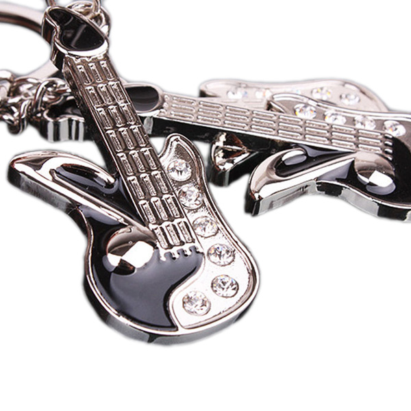 Cute Silver Keychain Mini Guitar Key Ring Chain