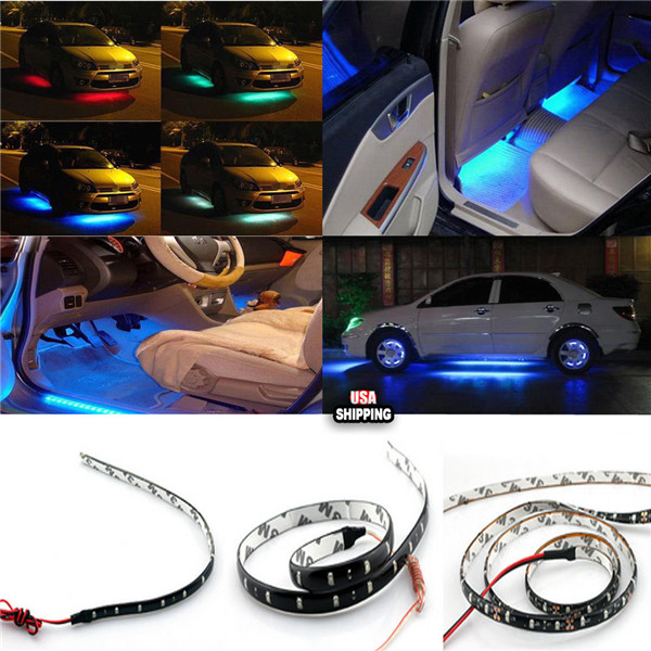 Car Flexible Waterproof RGBY3528 1210 SMD LED Strip Light 90cm 12V