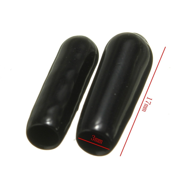 2X 3mm Rubber Aerial Antenna Caps RC Accessories End Plug Tube Cover Black