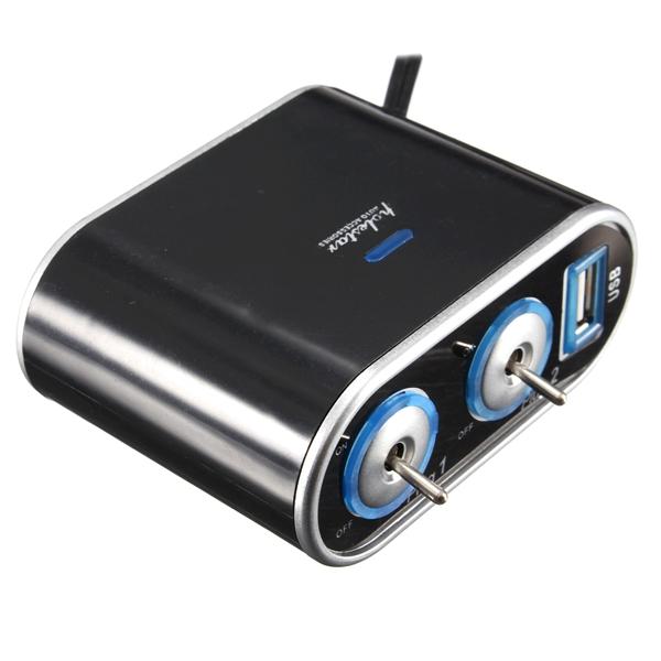 Car Cigarette Lighter Socket USB Power Charger Adaptor 2 Way Splitter LED