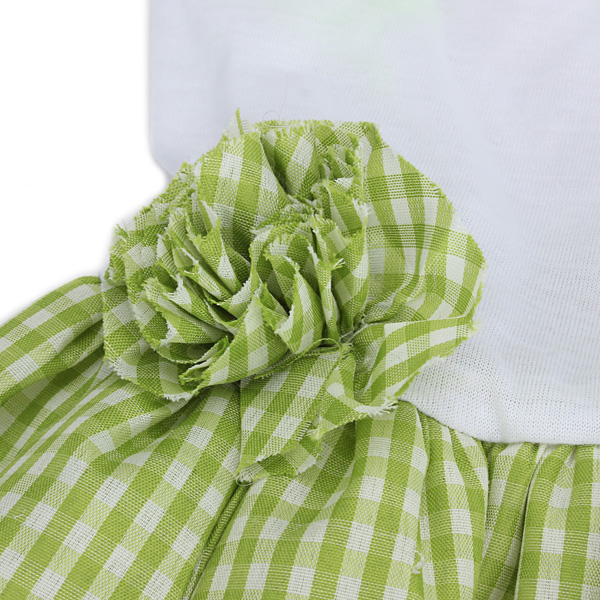 Summer Dog Dress Skirt Puppy Wedding Dress Fresh Grid Flower Pet Dog Skirt