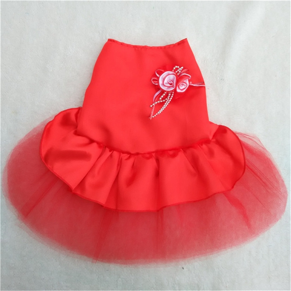 4 Colors Summer Puppy Pet Dog Tutu Lace Satin Skirt Cat Princess Party Wedding Dress