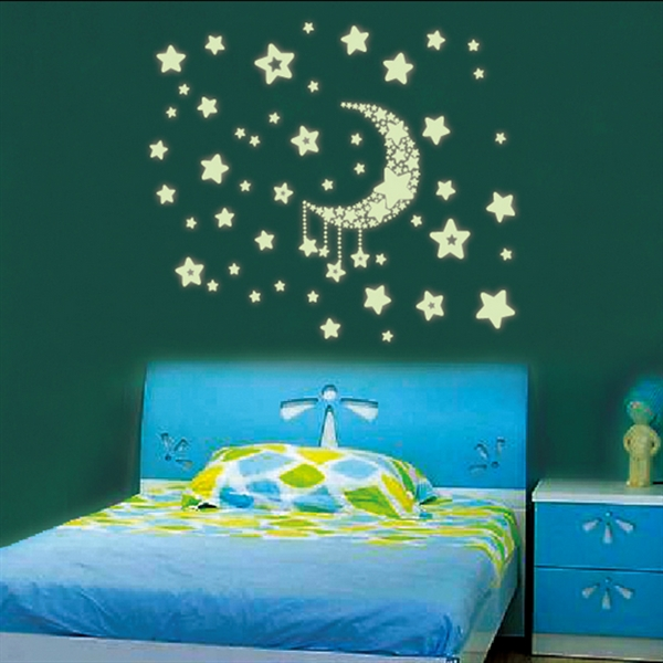 Moon Stars Wall Stickers Noctilucent PVC Removable Decal Home Room Decor