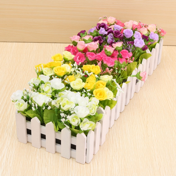 Artificial Silk Rose Flower Wood Fence Home Garden Wedding Decoration