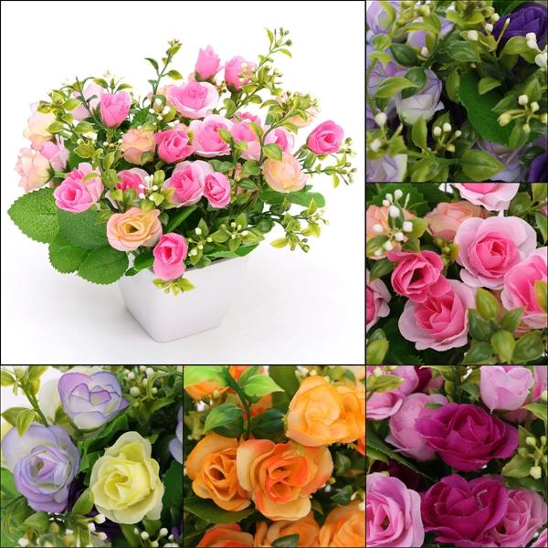 Artificial Silk Rose Flower Plastic Pots Home Garden Wedding Decoration