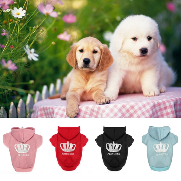 XS To XXXL Winter Pets Dog Princess Crown Printed Clothes Puppy Cat Hoodie Warm Coat