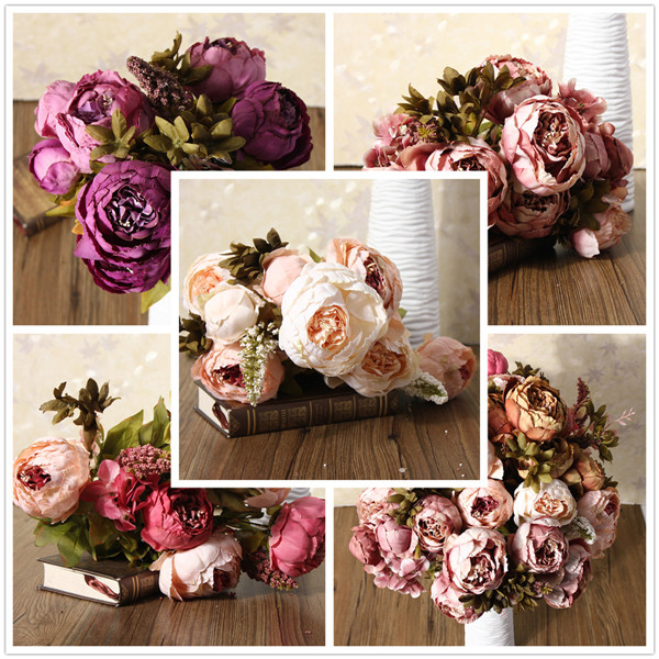 Artificial Peony Bouque Silk Flowers Home Room Party Wedding Garden Decoration