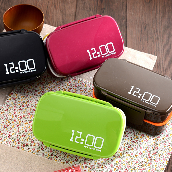12:00 It's Lunch Time 2 Tier Bento Lunch Box 1400ml Japan Style Plastic Food Container