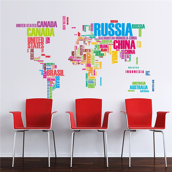 DIY Large World Map Wall Decal English Alphabet Removable Wall Stickers Decal