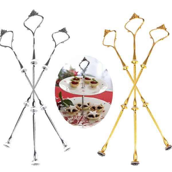 Cake Plate Stand Silver Gold Wedding Party Crown Rod