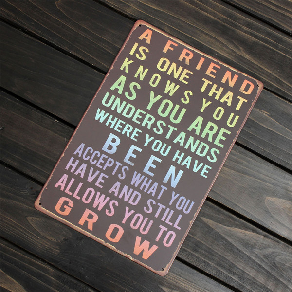 Friend Retro Metal Painting Sheet Metal Drawing Home Poster Sign Tin Wall Decor