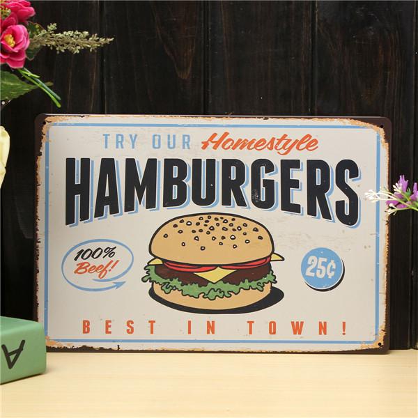 Hamburgers Sheet Metal Drawing Retro Metal Painting Pub Club Cafe Poster Sign Tin Decor
