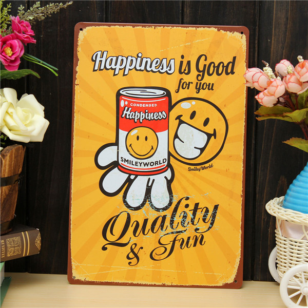 Happiness Sheet Metal Drawing Metal Painting Tin Shop Pub Wall Tavern Poster Sign