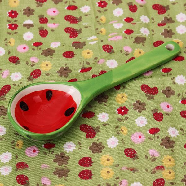 Lovely Fruit Watermelon Spoon Japanese Style Creative Ceramic Tableware Ice Cream Spoon