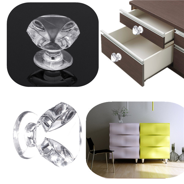 10Pcs 1.7cm Artificial Crystal Knobs Cabinet Cupboard Drawer Handle Pulls Home Kitchen