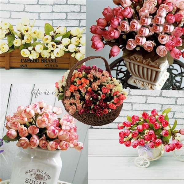 6 Colors 15 Heads Artificial Mini Rose Simulation Rose Flower Home Wedding Decor
