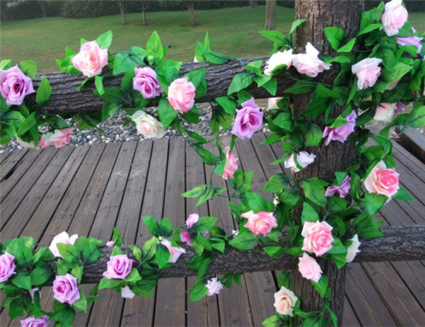 7 Colors Simulation Flower Rattan Artificial Rose Wisteria Home Wedding Party Decor