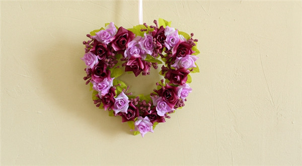 6 Colors Simulation Flower Heart Wreath Artificial Rose Heart Garland Home Wedding Decor