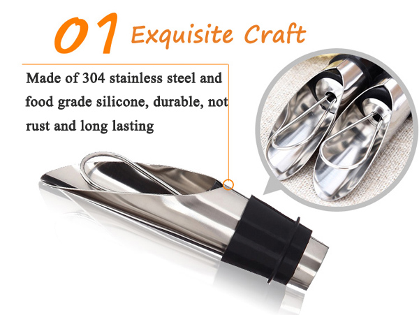 Stainless Steel Wine Pourers Wine Funnel Bottle Pourer Dumping Wine Stoppers Plug Bar Tools