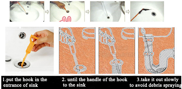 Honana Plastic Sink Drain Dredge Pipeline Hook Hair Cleaning Tool Kitchen Cleaning Supplies