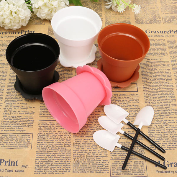 4Pcs Plastic Flower Pot Shape Muffin Cake Pan Baking Cup With Spoon Lid