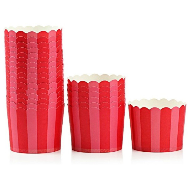 20PCS High Temperature Resistant Middle Red Pink Stripe Paper Cake Cup
