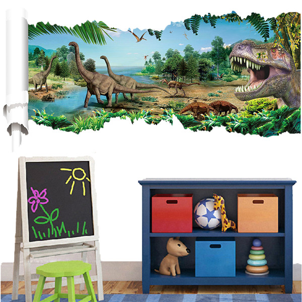 3d forest dinosaur wall decals removable 3d wall art stickers home